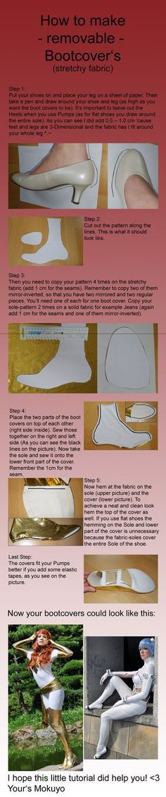 How to make Bootcovers Part 2 of 2 - removable by Mokuyo on DeviantArt - COSPLAY IS BAEEE!!! Tap the pin now to grab yourself some BAE Cosplay leggings and shirts! From super hero fitness leggings, super hero fitness shirts, and so much more that wil make you say YASSS!!!