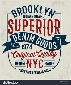 Vintage denim label design, t-shirt graphics, vectors