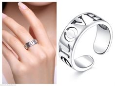 Beautiful sterling silver LOVE ring Adjustable size  Free Shipping