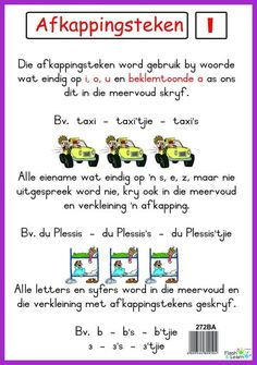 Afkappingsteken Colourful high quality posters are great for learning and make it more fun! Available in Afrikaans only Quotes Dream, Life Quotes Love, Quotes Quotes, 1st Grade Worksheets, School Worksheets, Robert Kiyosaki, Napoleon Hill, Tony Robbins, Afrikaans Language
