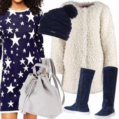 Sportivo e caldo questo abbinamento di bianco e blu. Le stelle giustissime per i look natalizi, ma sdoganate ormai per ogni occasione. zaino in spalla... e via allo shopping natalizio!