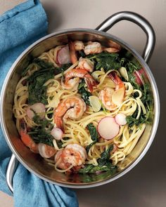 Buttery Shrimp and Radish Pasta - Martha Stewart Recipes. I just use earth balance and spinach if my radish greens are icky. Shellfish Recipes, Seafood Recipes, Pasta Recipes, Dinner Recipes, Cooking Recipes, Dinner Ideas, Gnocchi Recipes, Healthy Recipes, Quick Pickled Radishes