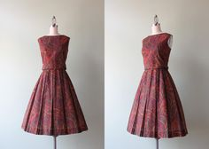 vintage 60s dress / 1960s burgundy paisley day by HolliePoint, $58.00