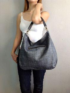 ✿ ❤ BagStory JESS CLASSIC / Womens Tote Bags / Shoulder Handbags in Denim and Black / Denim Bags. $42.00, via Etsy.