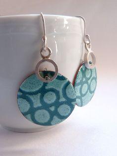 Bubble Earrings with turquoise Enamel Sterling silver and copper Enamel earrings