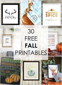Decorate your home on a budget with 30 Free Fall Printables. There is something to fit every style, even tags for thank yous and coloring pages! Printable Designs, Printable Wall Art, Free Printables, Vintage Fall, Fall Signs, Thanksgiving Decorations, Fall Decorations, Fall Diy, Diy Wall Art