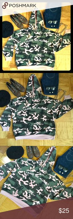 "LEAVE ME ALONE CAMO HOODIE SZ 1X LIGHT PINK/GREEN PREOWNED‼️NO REAL SIGNS OF WEAR, LIKE NEW😍 ARMY CAMOUFLAGE PRINT OF BLUSH/ PALE PINK, ARMY/ DARK GREEN, ARMY/ DARK BROWN AND BLACK. PALE PINK WRISTS AND HEM, DRAWSTRING HOOD SIZE 1X 😊LEAVE ME ALONE IN WHITE PRINT ON FRONT😍CROPPED ARMS❤️GRAB THIS CUTIE TODAY OR BUNDLE FOR A GREAT DEAL ❤️27"" Shoulder to Hem ❤️19"" Arm *Shoulder to Wrist ❤️25 1/2"" Armpit to Armpit New Look Tops Sweatshirts & Hoodies"