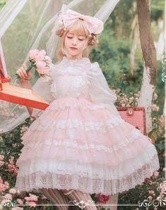 Aurora Ariel -The Song of Cicadas- Lolita High Waist Jumper Dress,Lolita Dresses, Pastel Goth Fashion, Quirky Fashion, Kawaii Fashion, Lolita Fashion, Cute Fashion, Girl Fashion, Frilly Dresses, Cute Dresses, Cute Outfits