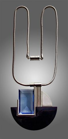 Art Deco Pendant Chromium plated brass Glass French, c.1930.