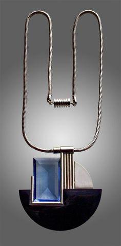 Art Deco Pendant Chromium plated brass Glass French, c.1930.