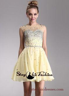 Yellow Short Illusion High Neck Rhinestone Beaded Open Back Prom Dress
