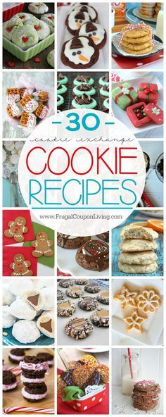 30 Cookie Exchange Ideas and Cookie Recipes on Frugal Coupon Living. Holiday Cookies Ideas for Kids and Adults. I love some of the out of the creative box recipes!