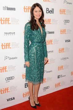 """Wearing coordinating green dresses, Rachel McAdams and Olga Kurylenko attended the """"To the Wonder"""" premiere at the 2012 Toronto International Film Festival at the Princess of Wales Theatre today (September 10)."""