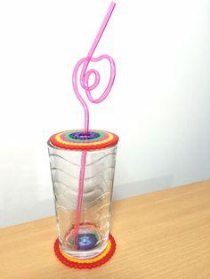 Rainbow Handmade Fuse Bead Coaster & Drink Guard Glass Protector