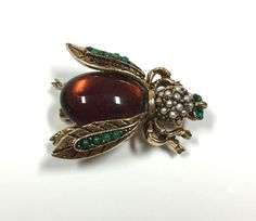 Vtg Signed ART for Arthur Pepper Bee Brooch Pin Seed Pearls Brown CAB Gold  #ART Dellagraces Vintage Jewerly