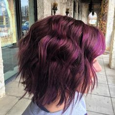Amazing dimensional plum hair color achieved with Aveda color!