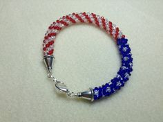 USA Patriot Kumihimo Bead Bracelet by JessiczGems on Etsy