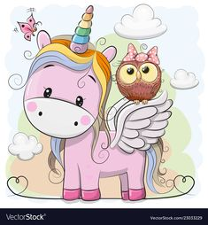 Cute Cartoon Unicorn and owl. Cute Cartoon pink Unicorn with owl in a bow vector illustration Unicorn Drawing, Cartoon Unicorn, Unicorn Art, Cute Unicorn, Kids Cartoon Characters, Cartoon Kids, Unicornios Wallpaper, Owl Vector, Unicorn Pictures