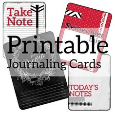 Cute red, black and white printable journaling cards for scrapbooking, card making, project life and everything else you could need journaling cards for.