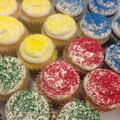 Cupcakes with sprinkles Custom Cupcakes, Sprinkles, Desserts, Food, Personalised Cupcakes, Tailgate Desserts, Dessert, Postres, Deserts