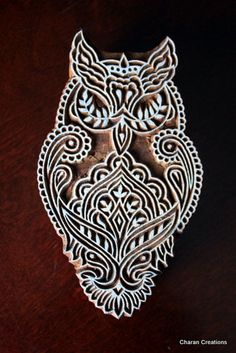 This would be awesome as a tattoo.... Hand Carved Indian Wood Block Stamp Gothic Owl by charancreations, $24.50