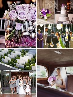purple and grey wedding... Love everything about this except the bridesmaids dress color