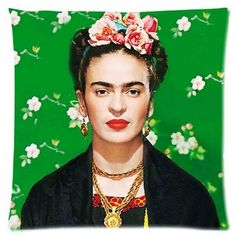 Frida Kahlo The Green Room Beautiful Portrait Linen Square Pillow Cushion Cover. in Home & Garden, Home Décor, Cushions, Decorative Pillows | eBay!