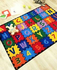 HR 3FTX5FT ABC PUZZLE KIDS EDUCATIONAL NONSLPIP RUG 39X58 PLEASE CHECK ALL THE PICTURES -- Click image for more details.Note:It is affiliate link to Amazon. #KidsroomDecoration