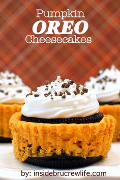 It doesn't get cuter than mini pumpkin Oreo cheesecakes. To make the chocolatey top and bottom of these mini cheesecakes, just split an Oreo cookie in half.