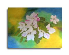 Flower PaintingApple Blossom painting-Wall by oilpaintingflowers