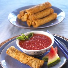 Watermelon Board | Lobster Spring Rolls ; The combination of lobster spring rolls with watermelon sesame sweet and sour sauce will give your tasetbuds an added zing. - See more at: http://www.watermelon.org/Recipes/Lobster-Spring-Rolls#sthash.sNexooSB.dpuf