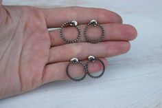 Fine Silver Earrings, Sterling Posts, Studs, Celtic Knot Studs, Celtic Style,  Circle Studs, Minimalist Style, Oxidized, Sterling, Raw Style by MetalMineralJewelry on Etsy