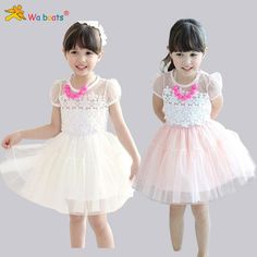Children Clothes 2015 Summer Cute Cartoon Girl Necklace Lace Dress,dandys