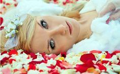 Beautiful Model on flower petals HD widescreen wallpapersjjjj
