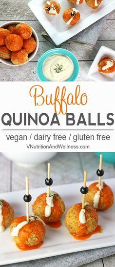 Buffalo Quinoa Balls   These Buffalo Quinoa Balls are a nice way to get that Buffalo sauce fix without meat! vegan, vegan buffalo sauce, buffalo sauce recipe via @VNutritionist