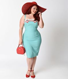 Make a date with Marylou! This breathtaking plus size Pin-up dress is crafted in a true 1950s silhouette, complete in a stretchy and soft unlined mint cotton blend. With sweet rose embroidered piping, this plus size retro dress boasts an adjustable strap