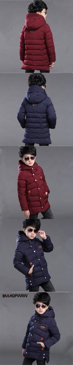 2017 Boys Cotton-padded Jacket Winter Coat Outerwear Parkas Fashion Hooded Long Wadded Jackets For 4-14T Children High Quality
