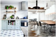 honeycomb pattern floors combined with rustic wood planks--image via Blog Homes