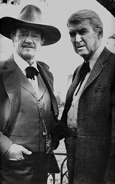 "John Wayne and James Stewart, portrait for ""The Shootist,"" 1976"