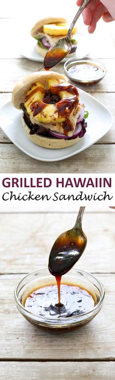 Grilled Hawaiian Chicken Sandwich piled high with grilled chicken, pineapple, lettuce and red onion. Drizzled with a thick, tangy and slightly sweet homemade teriyaki sauce! Chicken Sandwich Recipes, Grilled Chicken Sandwiches, Grilled Meat, Recipe Chicken, Sauce Teriyaki, Homemade Teriyaki Sauce, Grilling Recipes, Cooking Recipes, Hawaiian Chicken