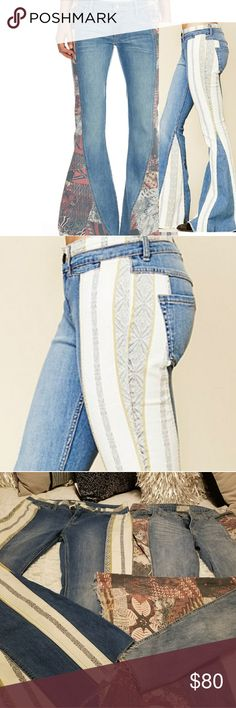 Free People patchwork flare jeans 2 pairs Free People flare jeans 2 pairs size 30, please note these have been cut at bottom for a shorter inseam of 31, 32 hard to measure exactly do to flare bottoms , smoke free home free people Jeans Flare & Wide Leg