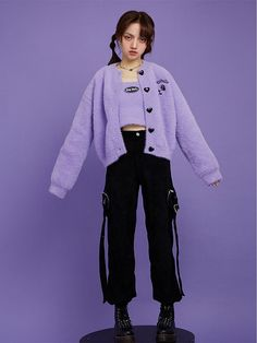 Sweet Taro Purple Short Knitted Cardigan / Cropped Cami Top Full Set by Sagi Dolls Cropped Cami, Cami Crop Top, Crop Tops, Pretty Clothes, Pretty Outfits, Purple Shorts, A Line Prom Dresses, Teen Fashion Outfits, Full Set