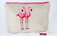 Kosmetiktasche Flamingos Cord