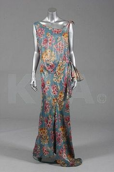 ~Evening Dress 1930s~ Kerry Taylor Auctions color photo vintage dress museum floral grey blue pink yellow