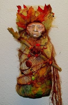 Samhain Moon 8 Abundance and Prosperity MoJo * Primitive Folk Art Signed by the Artist, Griselda Tello, a famous Reiki Master that imbues her sculptures with love and healing powers.  Let this doll change your conversations of gloom to abundance and goodwill. @Hana V Art.etsy.com $59