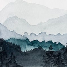 How to paint watercolor mountains