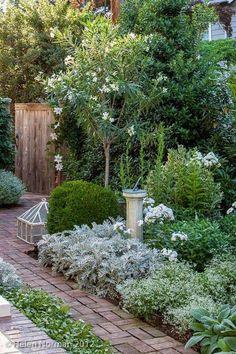 Brick path through a green and white garden