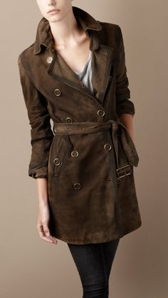 WASHED SUEDE TRENCH COAT