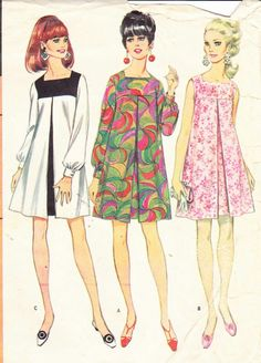 Perfect dress/tunic for dd: sale vintage womens sewing pattern mod dress mccall's 8945 bust Moda Vintage, Style Vintage, Vintage Ladies, Vintage Dress Patterns, Vintage Dresses, Vintage Outfits, 1960s Dresses, 1960s Fashion, Vintage Fashion