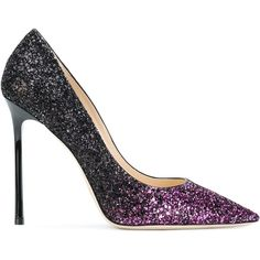 Jimmy Choo Romy glittered pumps ($540) ❤ liked on Polyvore featuring shoes, pumps, pointed toe pumps, stiletto pumps, leather shoes, high heel shoes and pointy toe pumps